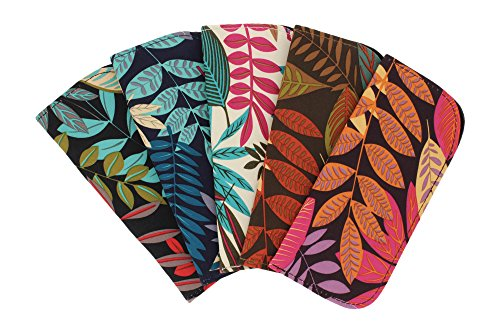 5 Pack Eyeglass Slip Cases For Women & Men - Botanical Print In Assorted - Optical Eyeglasses
