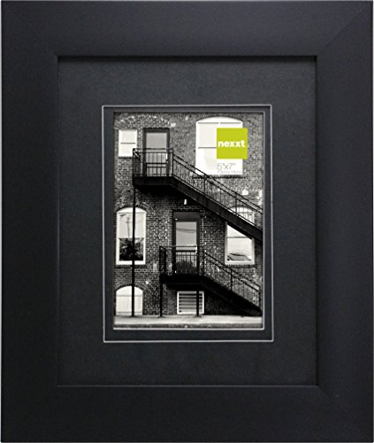 nexxt Metro Picture Frame, 8 by 10-Inch Matted For 5 by 7-Inch Photo, Black Frame With Double Black Mat