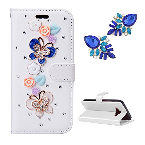 Galaxy Exhibit Case, Samsung Galaxy Exhibit T599 Case, Mellonlu PU Leather Flip Wallet Cute Bling Case Cover for Samsung Galaxy Exhibit T599, [Free Gift Beautiful earrings] (Samsung Galaxy Exhibit Case Bling)