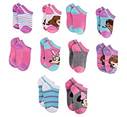 Disney Girls Socks - No Show Socks - Pack of 10 - Size 4-6