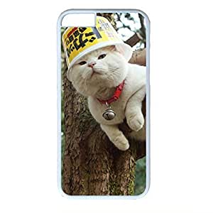 Hard Back Cover Case for iphone 6 Plus,Cool Fashion Art White PC Shell Skin for iphone 6 Plus with Funny Cat