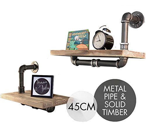 Cheap  Industrial Pipe Shelf 2 Layer Pipe Design Rustic Modern Wood Ladder Bookshelf..