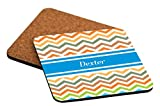 "Rikki Knight ""Dexter Blue Chevron Name Design"" Square Beer Coasters"