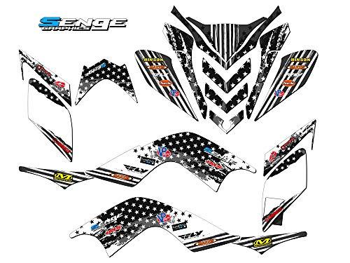 Senge Graphics kit compatible with Yamaha 2009-2012 Raptor 700, Merica MATTE BLACK Graphics kit (this kit has a matte finish, not gloss).