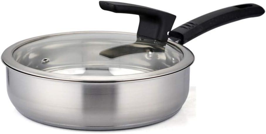 Sartén de 24 cm sartén de carne de acero inoxidable olla sartén antiadherente física sin revestimiento pequeño wok cocina de inducción de gas universal 24 cm: Amazon.es: Hogar