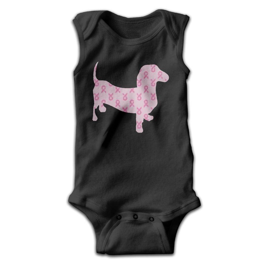 braeccesuit Breast Cancer Awareness Dachshund Baby Newborn Infant Creeper Sleeveless Romper Bodysuit Onesies Jumpsuit Black