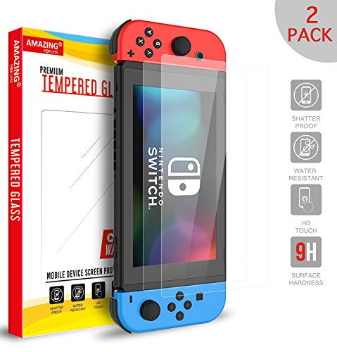 Amazingforless Screen Protector for Nintendo Switch [2 Pack] 2017, Premium Tempered Glass Screen Protector for Nintendo Switch