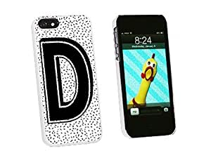 Graphics and More Letter D Initial Sprinkles Black White Snap-On Hard Protective Case for iPhone 6 plus 5.5 - Non-Retail Packaging - White