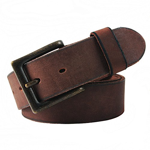 Dress Leather Belt Brass Buckle - NPET Mens Full Grain Leather Belts Snap on Belt Strap 1 1/2