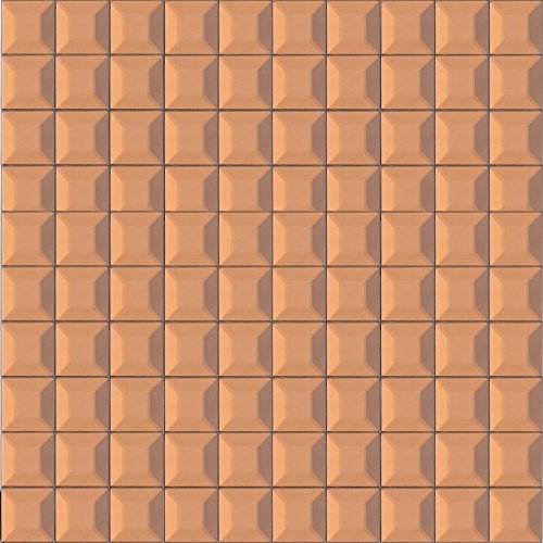 (Tile Generation Copper Brown Reflection Mirror Glass Mosaic Tile Sheet 1x1 Grid Kitchen and Bath Backsplash (Sample)