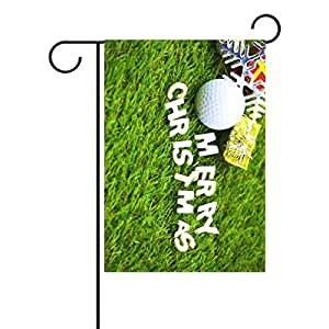 Duble Sided Golf Ball With Merry Christmas On Green GrassPolyester House Garden Flag Banner 28 x 40 Inch for Anniversary Family Garden Decor