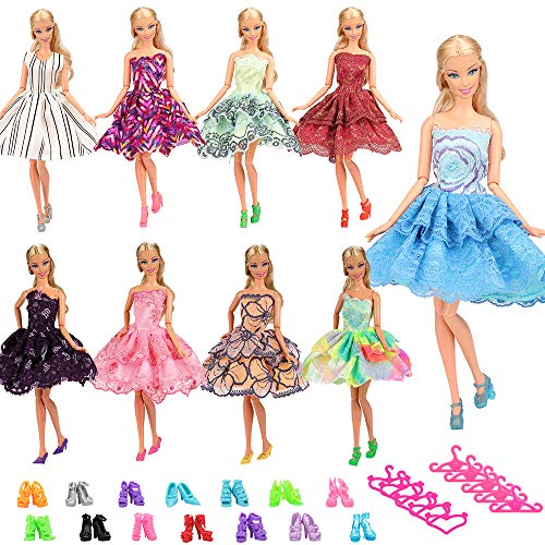 BARWA 5 PCS Fashion Mini Short Party Dresses Doll Clothes 5 Shoes 5 Hanger Compatible with 11.5 inch Dolls ()