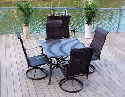 5pc Cast Aluminum Swivel Rocking Wicker Patio Furniture Dining Set with Slat Top Table - Bronze
