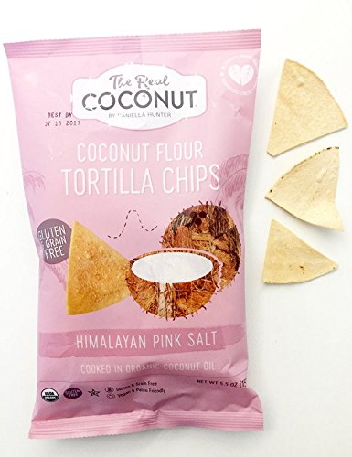 The Real Coconut, Himalayan Pink Salt, Gluten Free Coconut Flour Tortilla Chips, 5.5 ounce, 12-Pack by The Real Coconut