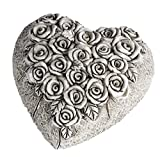 Formano Decorative Heart Sculpture Beautiful Grave Ornament Grave Decoration Grave Heart Figure for Tombs Cream Grey 9 x 9 cm