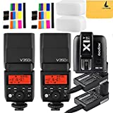 Godox V350F TTL 2.4G 2X Camera Flash with Built-in Rechargeable 7.2V/2000mAh Li-ion Batter,Godox X1T-F Flash Trigger for For Fuji Camera