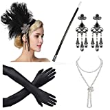 Beelittle 1920s Accessories Headband Earrings Necklace Gloves Cigarette Holder (A2)
