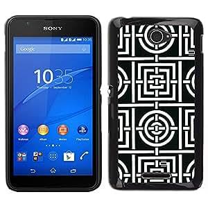 EJOY---Cubierta de la caja de protección para la piel dura ** Sony Xperia E4 ** --Modelo blanco Líneas Azulejos Forma