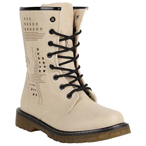 Stiefelparadies Damen Worker Boots Gefütterte Stiefeletten Leder-Optik Schuhe Flandell Creme Nieten