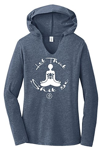 Buddha Tee Shirts - Comical Shirt Ladies Let That Shit Go Yoga Graphic Navy Frost M