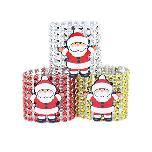 ZLY 3pcs Santa Claus Napkin Rings Napkin Buckle 8 Rows of Diamond Napkin Rings Christmas Ornamental Napkin Buckle