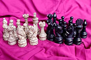 RADICALn Black and Light Brown Marble Big Chess Figures - Complete 32 figures - Suitable for 16 to 20 inches Chess Board