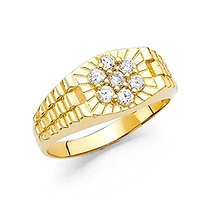 Mens CZ Engagement Ring Solid 14k Yellow Gold Band Watch Style Design Flower CZ Polished Fancy by GemApex