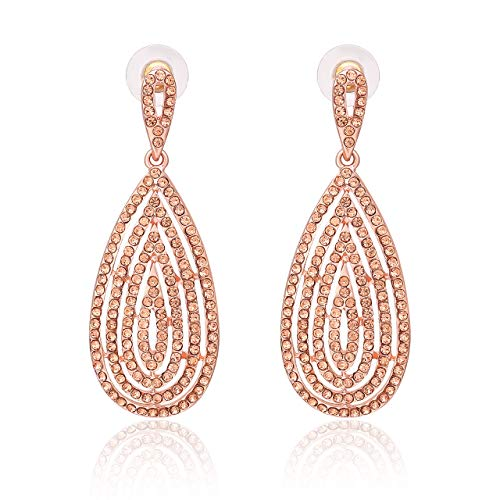Women's Diamond Teardrop Dangle Earrings Bridal Prom Layered Leaf Rhinestone Drop Earrings Studs (rose gold02)