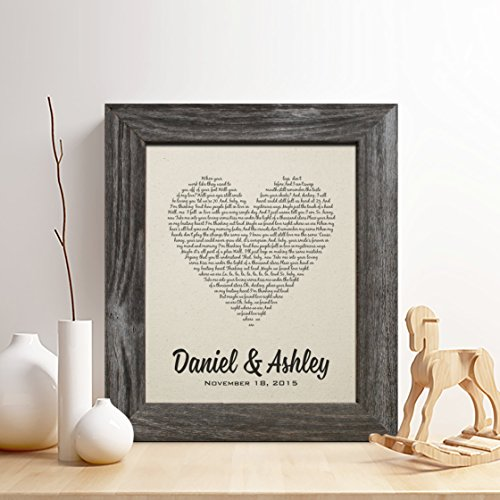 Personalized 2nd Cotton Anniversary Gift for Him or Her, First Dance Song Cotton Print, Wedding Vow Cotton Print, any Text, Gifts for Husband and Wife, 2 Years Together by Chudoff