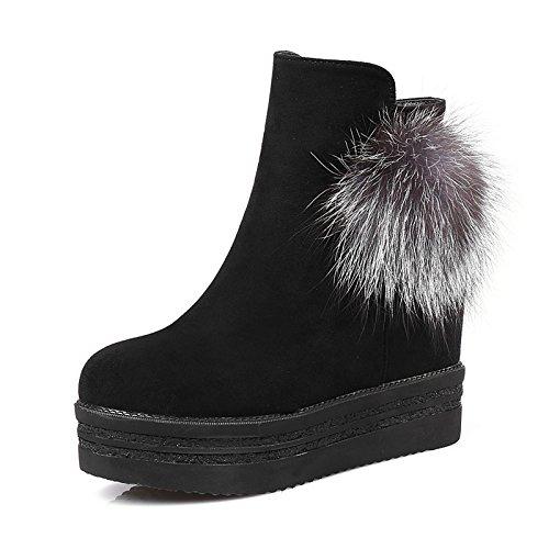 ZHZNVX HSXZ Zapatos de Mujer de Cuero de Nubuck Botas Moda Otoño Invierno Bootie Botas de Tacón Cuña Redonda/Tobillo Toe Botines Botas para Office\Carrera,Vestido Negro,US5/UE35/UK3/CN34 35 EU