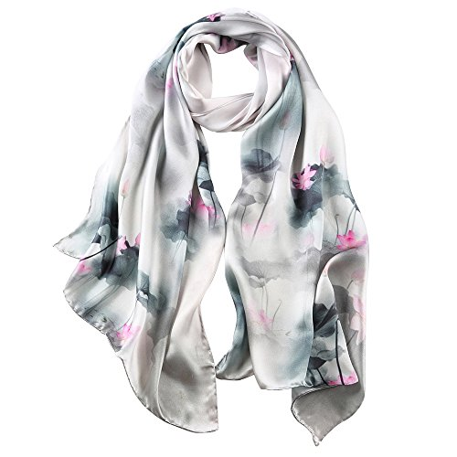 PAICY Women's 100% Mulberry Silk Scarf, Beautiful Nature Prints (Palegreen)