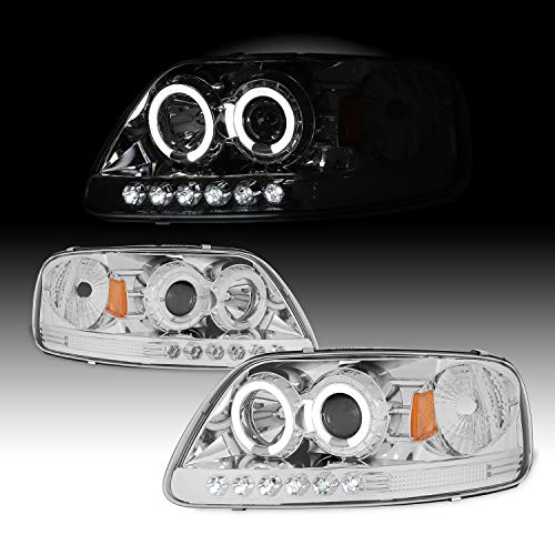(For 1997-2002 Ford F-150 2003 Expedition 04 F150 Heritage Dual LED Halo Ring Chrome Clear Projector Headlights + Corner)