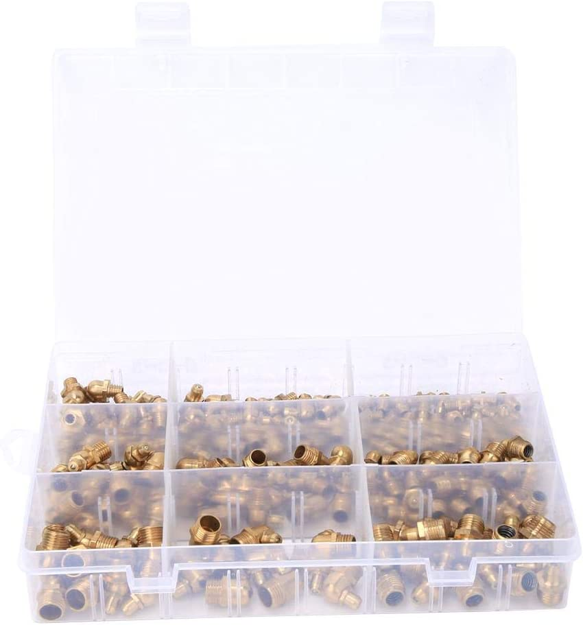 Grease Zerk Nipple Fitting with Plastic Case 160pcs Brass Grease Nipple Assortment Kit