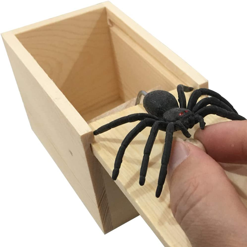 PARNIXS Rubber Spider Prank Box,Handcrafted Wooden Surprise Box Prank Spider Money Surprise Box Fun Practical Surprise Joke Boxes