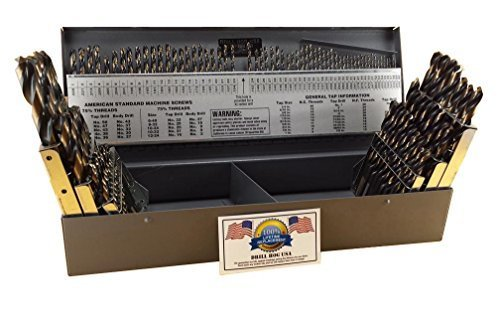 Drill Hog 115 Pc Drill Bit Set Letter Number Wire Gauge M7 Lifetime Warranty USA Made by Drill Hog