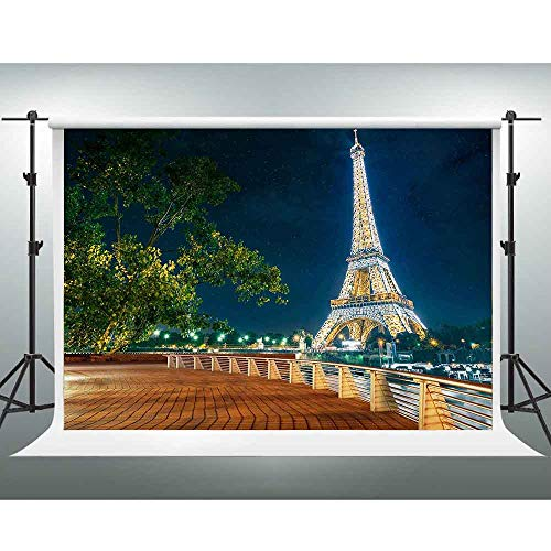 (GESEN Eiffel Tower Backdrop 10x7ft Romantic Paris Night View Photography Backdrop for Pictures Themed Party You Tube Background Photo Props)