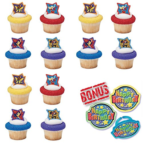 Bundle of Fun DC Super Hero Girls Just Be Awesome! Cupcake Toppers and Bonus Birthday Ring - 25 Pieces