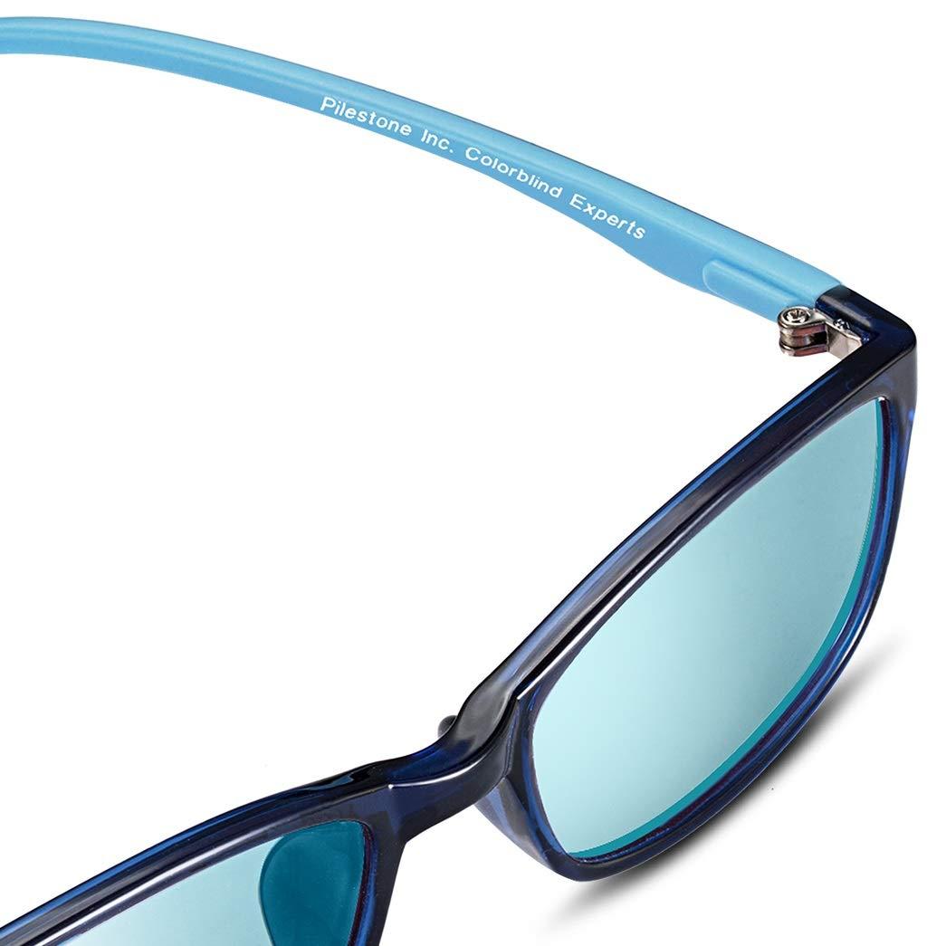 Pilestone Color Blind Glasses TP-022 for 10 Year Old Kids (Titanium Coated) Anti-UV