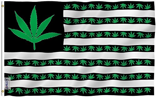 Anley Fly Breeze 3x5 Foot Marijuana Leaf USA Polyester Flag - Vivid Color and UV Fade Resistant - Canvas Header and Double Stitched - US Marijuana Leaves Flags with Brass Grommets 3 X 5 Ft