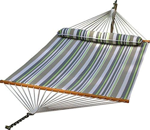 ALGOMA NET COMPANY 2789W-74SPC Quik-Dry Fabric Hammock With Pillow, Green/Gray/White