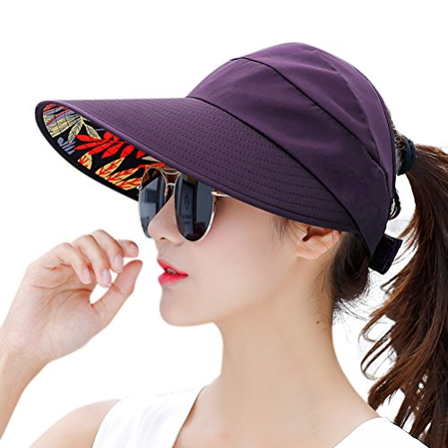 - HINDAWI Sun Hats for Women Wide Brim UV Protection Sun Hat Visor Floppy Fishing Packable Caps Purple