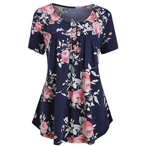 TANLANG Womens Aristocratic Print Tops Casual Outdoors Vest Blouse T Shirts Mini Dresses Tees Print O-Neck Short Sleeves Dark -