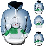 DEATU Sale Mens Vivid Christmas Pullover 3D Printed Hooded Sweatshirt Tops Blouse with Front Big Pocket Lover Clothing