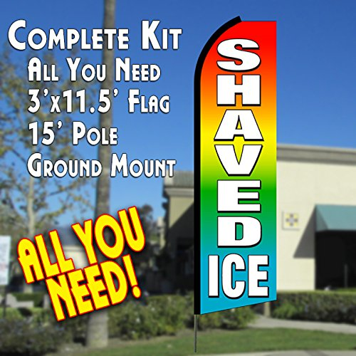SHAVED ICE (Multi-color) Flutter Feather Banner Flag Kit (Flag, Pole, & Ground (Feather Banner Flags)