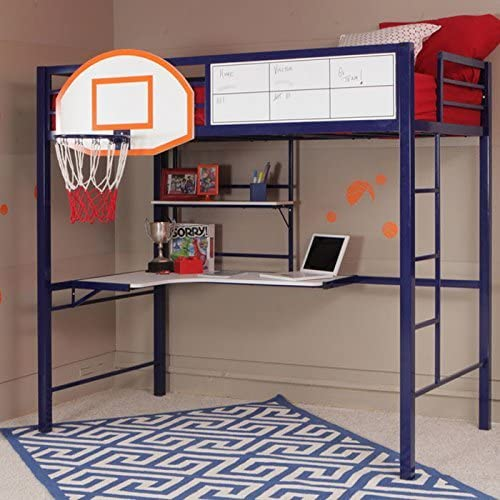 Amazon Com Modern Contemporary Boys Bedroom Twin Size Bunk Bed Loft With Computer Desk Activity Center Work Area Regulation Basketball Backboard Hoop Play Game Shelves Storage Organizer Amazing Kitchen Dining