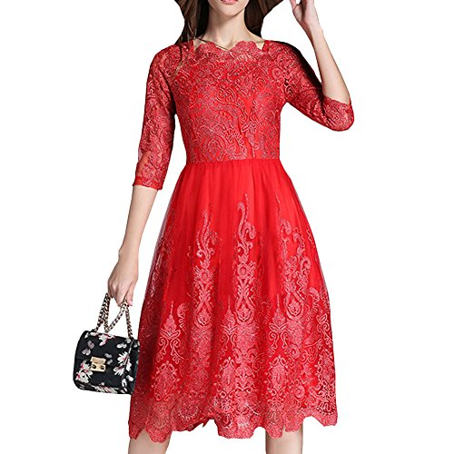 Dissa Yl67810 Femmes Solides Manches 3/4 En Dentelle Midi Robe Creuse Soirée Plissée Rouge