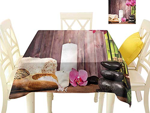 WilliamsDecor Picnic Cloth Spa,Plants Wooden Wall Sea Salt Waterproof Table Cloth W 54