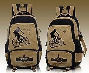 Men's Leisure Outdoor Sport Knapsack Canvas Travelling Rucksack Packsack Shoulders Bag Backpack Bike (Khaki)
