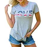 Womens Tops Short Sleeve Stripes Star American Flag Printing T Shirt Casual O Neck Blouse (M, Grey)
