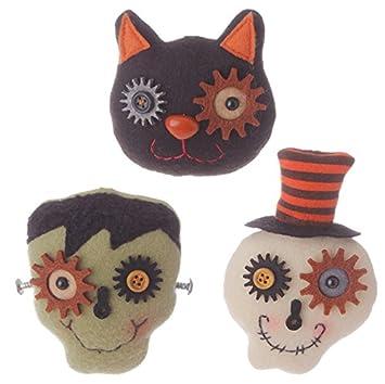 raz imports halloween decor felt black cat frankenstein skull 3pc h3512304